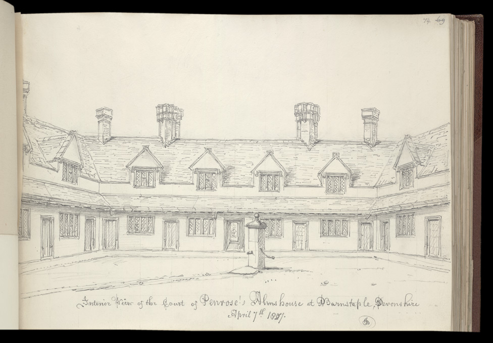 Penrose's Almshouses At Barnstaple, 1827 f.74